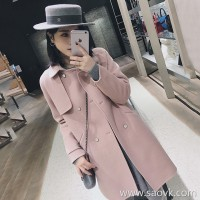 Sandro Moscoloni cashmere coat women's long section 2018 autumn and winter new Korean version of loose woolen coat