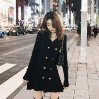 Sandro Moscoloni 2018 autumn and winter new knit slim black dress temperament slim bottoming dress