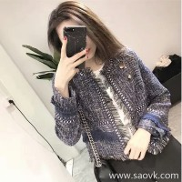 Sandro Moscoloni ladies small fragrance tassel short jacket female 2018 autumn and winter new temperament jacket tide