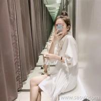 Sandro Moscoloni white shirt dress 2018 summer new female sweet slim loose skirt