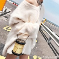 Sandro Moscoloni mohair sweater skirt autumn and winter new loose temperament long v neck sweater