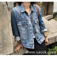 Sandro Moscoloni short denim jacket female Korean version 2018 autumn new wild slim shirt