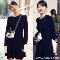 Sandro moscoloni autumn female 2018 new long slim slimming black dress knit dress