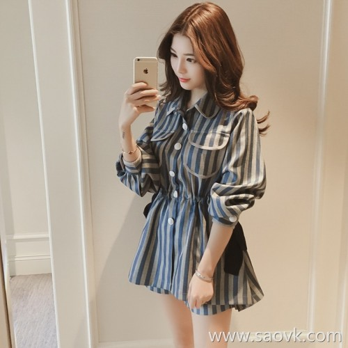 78163a7ccc3 Sandro Moscoloni striped shirt dress female 2018 summer new temperament  Korean version two sets of tide