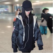 Sandro Moscoloni short down jacket female Korean version 2018 new winter hooded padded fashion coat
