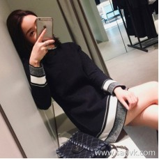 Sandro Moscoloni 2018 autumn and winter new women's inner straight skirt striped knit bottoming dress