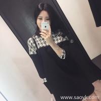 Sandro Moscoloni autumn dress female long sleeve 2018 new Korean version stitching straight bottom skirt