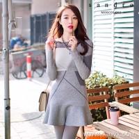 Sandro Moscoloni autumn women 2018 new small fragrance thin thin ruffled bottom knit dress
