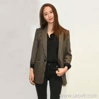 Sandro Moscoloni small suit female jacket Korean version 2018 autumn and winter new houndstooth woolen coat tide