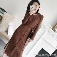 Sandro Moscoloni long-sleeved knit dress female long section 2018 autumn new bottoming sweater skirt