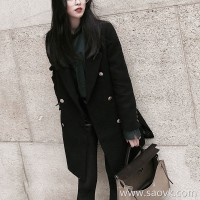 Sandro Moscoloni Hepburn wind small thick cashmere coat female black long section woolen coat