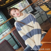 Sandro Moscoloni turtleneck sweater female 2018 autumn and winter new striped loose sweet pullover sweater