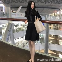 Sandro Moscoloni retro Hepburn little black dress 2018 autumn new small fragrance a word dress female