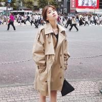 Sandro Moscoloni windbreaker female long section Korean version of the fall 2018 new loose wild thin coat
