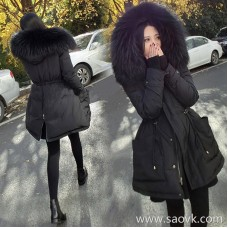Sandro Moscoloni down jacket women's long section 2018 new winter thick drawstring large fur collar coat