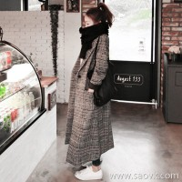 Sandro Moscoloni houndstooth wool coat female 2018 autumn and winter new over the knee tartan coat