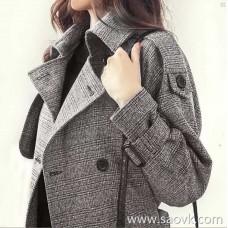 Sandro Moscoloni Plaid Windbreaker Women 2018 New Autumn Mid-length Waist Thin Coat Jacket