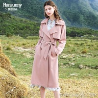 In the long section of the windbreaker 2019 spring new women's temperament handsome suit collar waist was thin and very fairy powder jacket