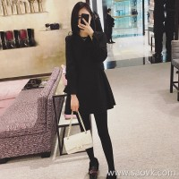 Sandro Moscoloni 2018 autumn and winter new women's inner woolen dress Slim bottoming black dress