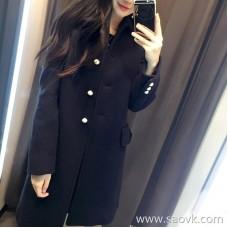 Sandro Moscoloni Slim woolen coat female 2018 autumn and winter new slim British wind wool coat