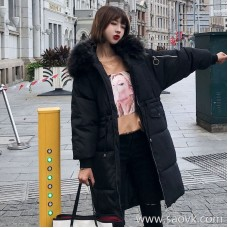 Sandro Moscoloni big fur collar down jacket women's long section Korean version of the loose autumn and winter new over the knee coat