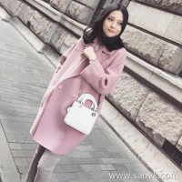 Sandro Moscoloni pink double-faced cashmere coat women's long section 2018 new style woolen coat