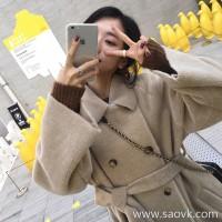 Sandro Moscoloni double-faced cashmere coat women's long section 2019 new temperament lace woolen coat