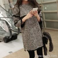 Sandro Moscoloni woolen straight dress female autumn and winter new Korean version of the slim long-sleeved base skirt