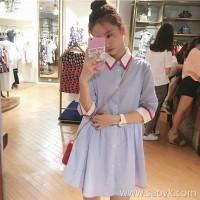 sandro Moscoloni shirt dress autumn 2018 new wave of female small fragrant little skirt Dress summer wind