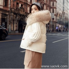 Sandro Moscoloni big fur collar down jacket female short section Korean version 2018 new short slimming coat