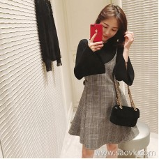 Sandro Moscoloni sweater vest skirt two-piece autumn and winter new slim slimming plaid dress