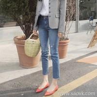 Sandro Moscoloni Straight Jeans Women 2018 Autumn New Korean Elastic Slim Nine Pants