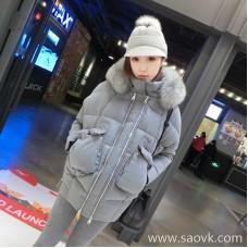 Sandro Moscoloni gray down jacket female 2018 new fox fur collar thickening long coat tide
