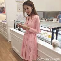 Sandro Moscoloni autumn dress female long sleeve 2018 new Korean temperament slim pink skirt