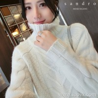 Sandro Moscoloni high collar long cashmere sweater female autumn and winter new Korean version of loose lazy wind sweater