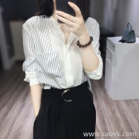 Sandro Moscoloni striped shirt female long sleeve 2018 spring and autumn new loose temperament silk top