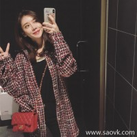 Sandro Moscoloni2018 early autumn new Korean version of the female long section loose thin plaid shirt jacket