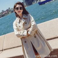 Sandro Moscoloni windbreaker female long section Korean version of the fall 2018 new loose wild knee coat