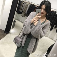 Sandro Moscoloni Knit Two-piece Women 2018 Autumn New Loose Mid-length Knit Cardigan Jacket