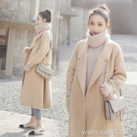 Sandro Moscoloni double-faced cashmere coat women's long section 2018 new style high-end woolen coat