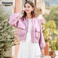 Short jacket female 2018 autumn new ribbed V-neck large pocket suede lantern long-sleeved casual jacket shirt +