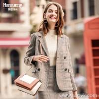 Plaid suit jacket female autumn 2018 new Hong Kong flavor retro British wind loose thin plaid short small suit