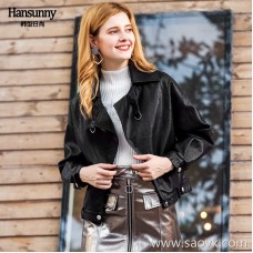 2018 autumn and winter women's new Hong Kong flavor chic fashion short PU leather loose lapel long sleeve jacket jacket