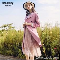 Pink long windbreaker 2018 autumn women's new temperament fashion lapel belt double-breasted thin coat
