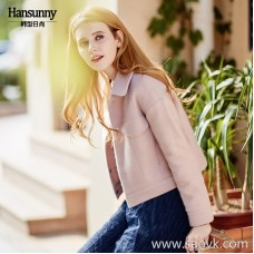 2018 autumn and winter new small women's woolen coat loose short chic pink quilted wool coat