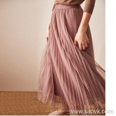 Wind home, mindful of smoky purple! Super beautiful four-layer flowing pleated smoke purple skirt with sweater sweater QZ0772