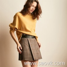 Wind home Elegant style! Mocha color with belt pleated yarn-dyed plaid skirt with boots more beautiful QZ0775
