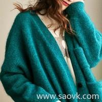 Wind home Paris bite green! Vintage flower yarn magnetic hairy furry thick loose jacket cardigan MZ0780