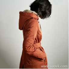 Wind home I have a white goose down coat! Niche design dark orange thick long section waist down coat YR0102
