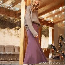 Wind home goddess temperament gray purple! Sweater fabric warm fishtail bag hip wild half skirt QZ0796
